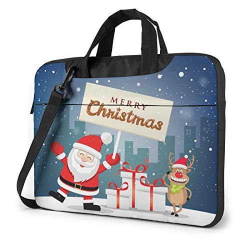 XIAONI Merry Christmas Laptop Shoulder Bag Compatible with 13-15.6 Inch MacBook Pro,MacBook Air,Notebook Computer,Removable Shoulder Strap Waterproof Carrying Briefcase Sleeve for Men Women