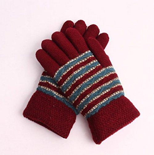 Gloves-zx Uomini E Donne Autunno e Inverno Doppio Strato Selvaggio Tenere in Caldo più Velluto Ispessimento Maglieria Student Punti Dito Guanti Invernali (Colore : 8#)