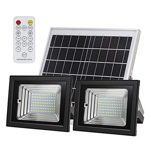 Owsoo Solar-verlichting met led, buitenverlichting, dubbele lamp + zonnepaneel, met 3 lichtniveaus optioneel met geïntegreerde lithiumbatterij, 98 SMD LEDs
