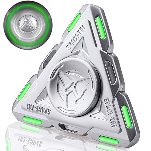 Glow in The Dark Tri Fidget Spinner UFO Light,Luminous Spinning Top Sensory Gadget Finger Hand Spinner Metal High Speed Seel Bearing,Best Gift ADHD Anxiety Focus Party Favors Prizes for Kids Adults