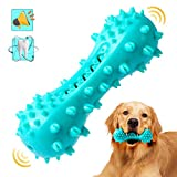 HESLAND Dog Chew Toothbrush Toys, Squeaky Teeth Cleaning Toy for Aggressive Chewers Large Breed Indestructible Tough Dog Toothbrush Stick for Small Medium Large Dogs Dental Care (Blue)