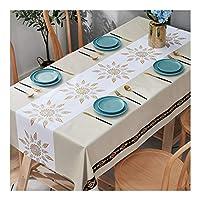 長方形のテーブルクロス、キッチンダイニング卓上装飾テーブルクロス用のプリントパターン付きワイプ可能なPVC防水テーブルカバー,9,140x220cm