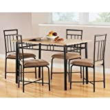 Mainstays 5-Piece Wood and Metal Dining Set, Espresso by Mainstays
