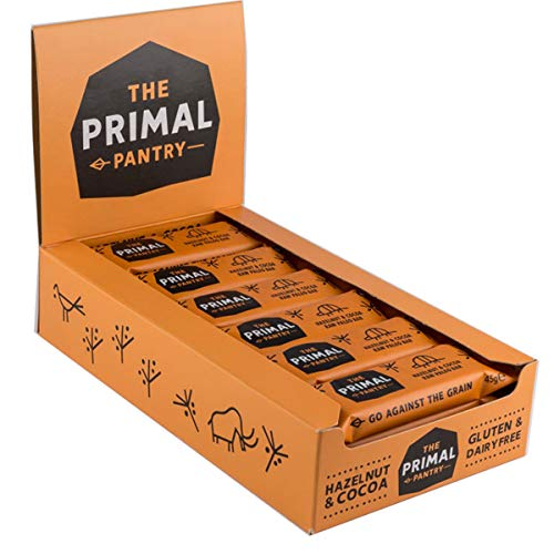 The Primal Pantry Barritas (Avellanas y Cacao) - sin azúcar añadido, sin gluten, 100% Natural, Vegano, Paleo, 45g x 18 ✅