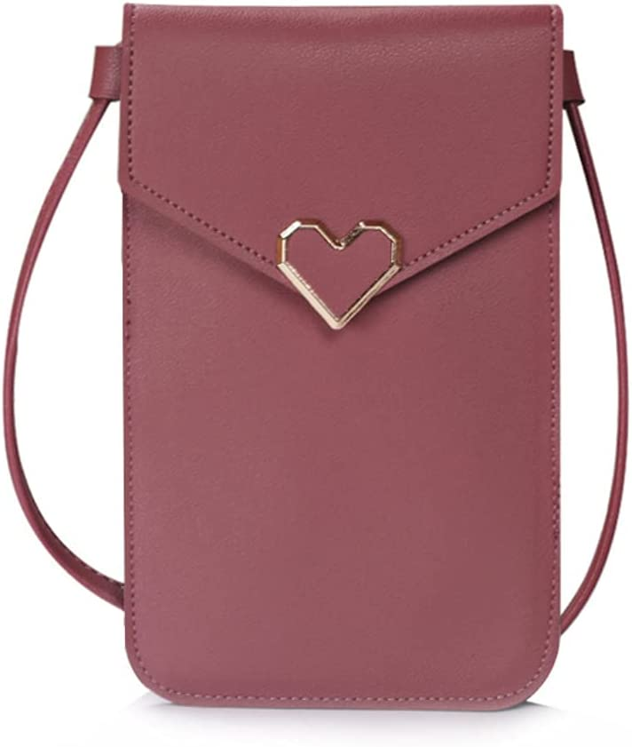 ISYSUII Crossbody Wallet Case for Motorola One 5G Ace 2021 Touch Screen Cell Phone Purse Love Heart Pattern with Card Holder Neck Strap Leather Magnetic Protective Cover for Women Girls,Dark Pink