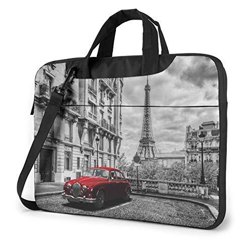 Bolso de Hombro para Ordenador portátil con Estampado de Coche Retro Rojo de City Street, maletín para Ordenador portátil, Bolso de Mensajero de Negocios