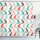 Ambesonne Cat Shower Curtain, Pastel Colored Pattern of Sitting Animal Silhouettes Kittens Pet Repetition Simplistic Illustration, Cloth Fabric Bathroom Decor Set with Hooks, 70' Long, Turquoise Coral
