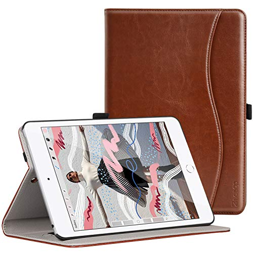 ZtotopCase Case for iPad Mini 5 2019, Premium PU Leather Business Folio Stand Cover for iPad Mini 5th gens 2019 with Auto Wake/Sleep, Document Card Slot, Multiple Viewing Angles,Brown