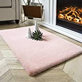 Ashler Ultra Soft Faux Rabbit Fur Chair Couch Cover Area Rug for Bedroom Floor Sofa Living Room Pink Rectangle 2 x 3 Feet