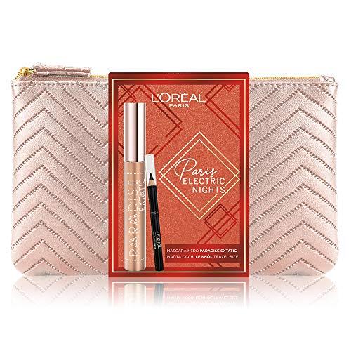 L'Oréal Paris Makeup Coffret Idée Cadeau Femme, Mascara Volume Extensible Paradise Extatic Noir et Crayon Yeux Le Khol, Travel Size