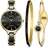 MAMONA Women's Quartz Watch Gift Set Crystal Accented Ceramic and Stainless Steel L3877GT (Black)