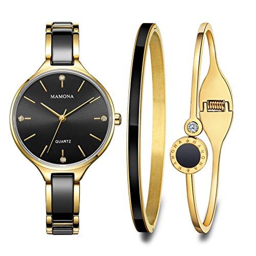 MAMONA Damen Uhr Set Analog Quarz mit Edelstahl und Keramik Armband L3877GT (Schwarz)
