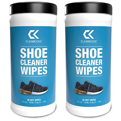 CleanKicks Shoe Cleaner Wipes - Removes Scuffs and Dirt Buildup - 2 Pack (30 Count)