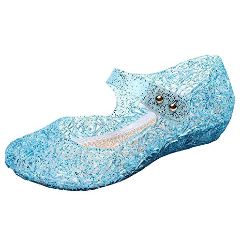 Vokamara Princess Girls Sandals Jelly Mary Jane Dance Party Cosplay Shoes for Kids Toddler Blue 24