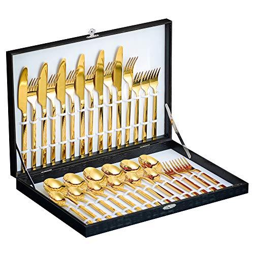 Velaze 30-teiliges Besteckset aus Edelstahl, 18/10 Premium-Besteck für 6 Personen, inklusive Esslöffel, Essgabel, Essmesser, Esslöffel und Teelöffel, spiegelpoliertes Design(Gold)