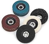11 piezas / Disco de pulido y disco de 115 mm de diámetro, 4 discos azules (Inox), 4 marrones (estándar), grano 40/60/80/120, 1 disco de limpieza gruesa, 2 discos de pulido (fieltro/nailon).