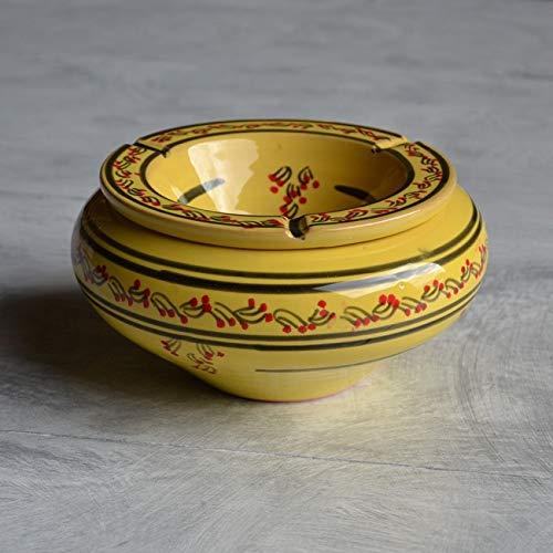Cendrier marocain Tatoué jaune - Grand modèle