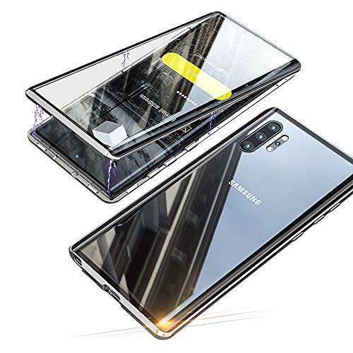 Jonwelsy Hülle für Samsung Galaxy Note 10 Plus 5G (6,8 Zoll), Magnetische Adsorption Metall Stoßstange Flip Cover mit 360 Grad Schutz Doppelte Seiten Transparent Gehärtetes Glas Handyhülle (Silber)