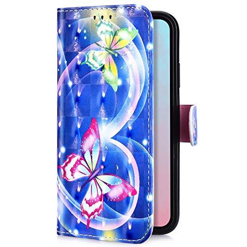 Uposao Kompatibel mit Huawei P Smart 2019 Handyhülle Handytasche Glitzer Bling Glänzend Bunt Muster Schutzhülle Flip Case Brieftasche Klapphülle Leder Hülle Cover,Liebe Schmetterling
