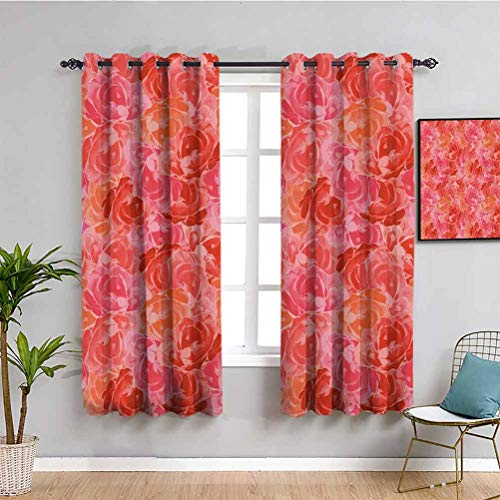 Pink Decor Farmhouse Curtain Flower Decorations Theme Bouquet of Nice Roses Illustration Romantic Pattern Protective Furniture Red and Pink W63 x L63 Inch