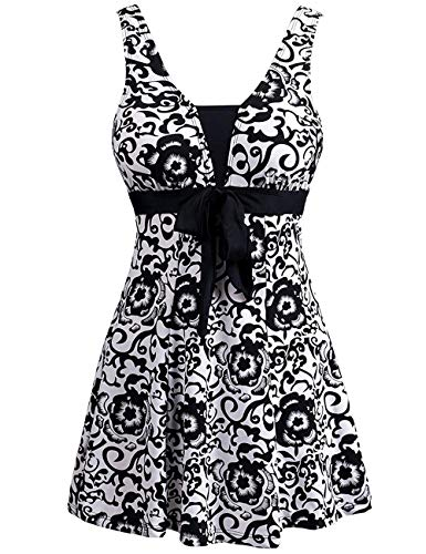 Wantdo Women's Push Up Swimsuit High Waisted Beachwear Black Porcelain US 12-14