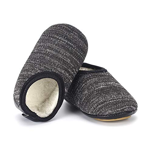 LACOFIA Scarpe da Pantofole Invernali da Bambino Scarpe Primi Passi Antiscivolo Neonato Grigio Scuro 12-18 Mesi
