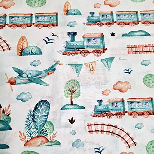 Tela de algodón 100 % para niños, diseño de vehículos de construcción, policía, bomberos, por metros, artesanía, tela de costura, tela (tren Boy, 100 x 160 cm)
