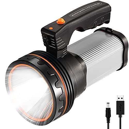 CSNDICE LED Proiettore Portatile Ricaricabile ad Alta Potenza Super Bright 9000 MA 6000 LUMENS CREE Spot Tattico Torcia Lanterna Torcia(Argento)