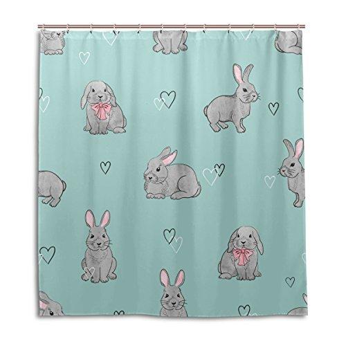MyDaily Duschvorhang mit niedlichem Kaninchen & Herzen, 182,9 x 182,9 cm, schimmelresistent und wasserdicht, Polyester-Dekoration