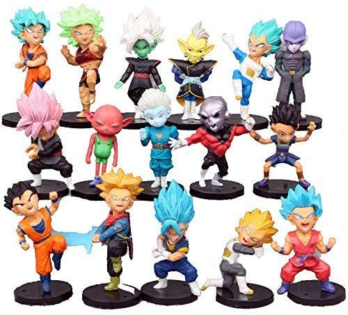 """Valibe 16 Pack Dragon Ball Z Cake Toppers,3"""" Goku Figures Cake Toppers Set – DBZ Action Figure Set"""