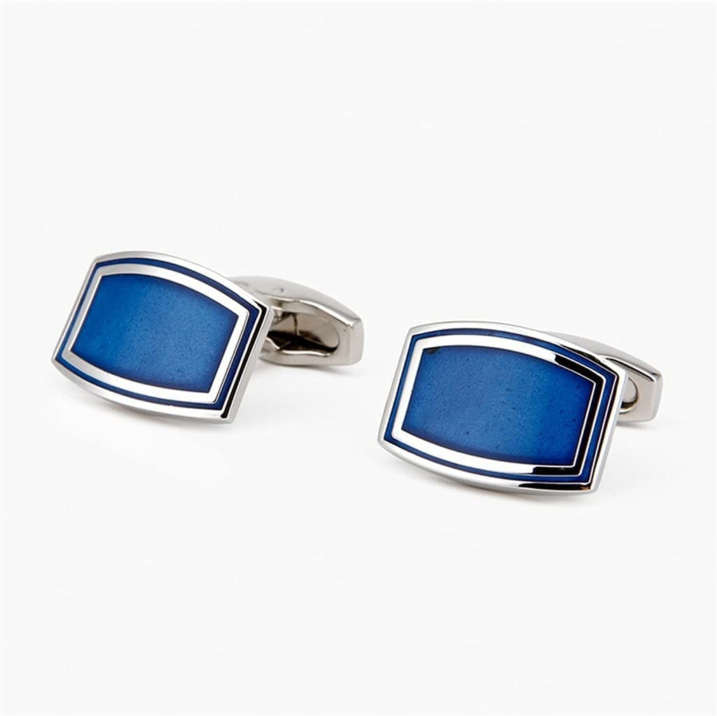 GYZX Men's Women's French Shirts Cufflinks Blue Enamel Cufflinks Do Not Fading Antioxidant and Durable (Color : Blue, Size : As Shown)
