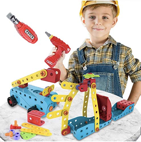 RAY · YANG 296+ Piece STEM Toys Kit with Drill, Educational Construction Engineering Building Blocks Learning Set for Ages 3 4 5 6 7 8 9 10 Year Old , Best Kids Toy, Creative Games & Fun Activity