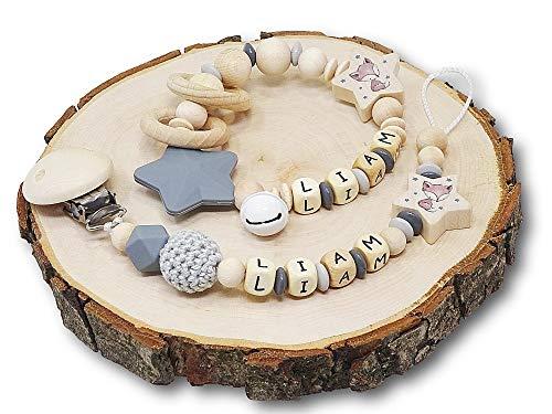 Set Schnullerkette & Greifling/Schnullerkette mit Greifling Junge/Geschenk zur Geburt