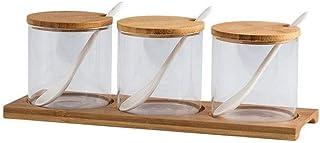 boîte d'assaisonnement,boîte d'assaisonnement en Verre avec cuillère épices Contenant Organisateur assaisonnement boîtes R...