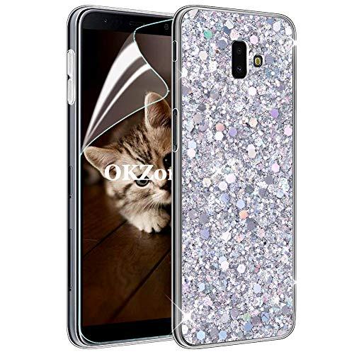 OKZone Cover Galaxy J6 Plus 2018 [con Pellicola Proteggi Schermo], Custodia con Brillantini Ultra Sottile Design Case di Alta qualità in Silicone TPU Bumper Cover per Galaxy J6 Plus 2018 (Argento)