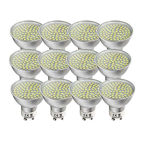 Wulun LED-lampen, 5 W, GU10, 12 stuks, koudwit, 6000 K, komt overeen met 50 W gloeilamp - 120 ° - dikke fitting
