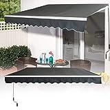 LZQ Tenda da sole in alluminio, 3,6 x 3 m, per balconi, protezione solare, a cassetta, braccio articolato, colore: grigio scuro