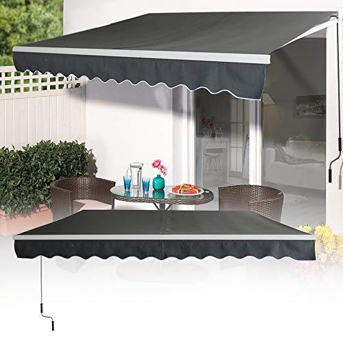 LZQ Aluminium Markise 3 x 2,5 m Balkonmarkise Sonnenschutz Kassettenmarkise Gelenkarmmarkise Sonnensegel Dunkelgrau