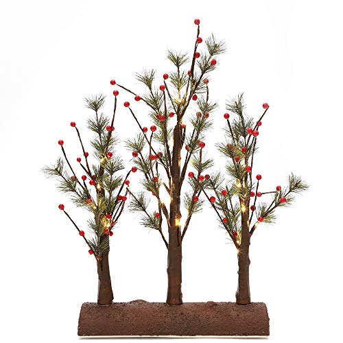 n / a Detachable Pine Tree Branches with Corns and Red Berries LED Lighted Tabletop 3 in 1 Base Desktop Home Decoration Indoor Lights for Christmas Holiday Party Wedding Warm White Ornament Holder