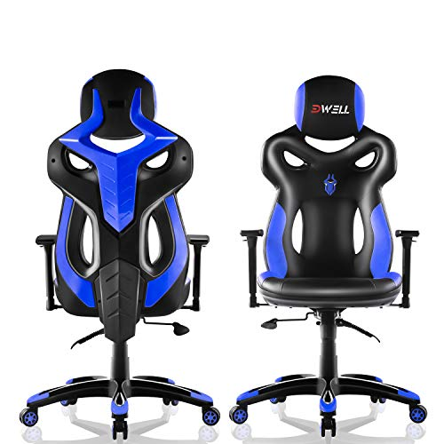 EDWELL Office Chair Racing Gaming Chair Adjustable PU Leather Executive Computer Desk Chair High-Back Video Chair with Headrest and Armrest for Adults, Blue