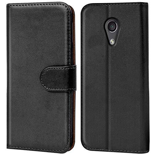 Verco Moto G2 Hülle, Handyhülle für Motorola Moto G 2 Gen. Tasche PU Leder Flip Hülle Brieftasche - Schwarz