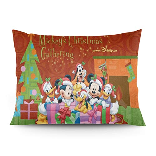 Omigge Cute Cartoons Square Throw Pillow Case, Soft Velvet Cushion Cover with Hidden Zippe for Couch Sofa Home Bed Decoration, Disney Mickey Mouse and Minnie Christmas Glitter