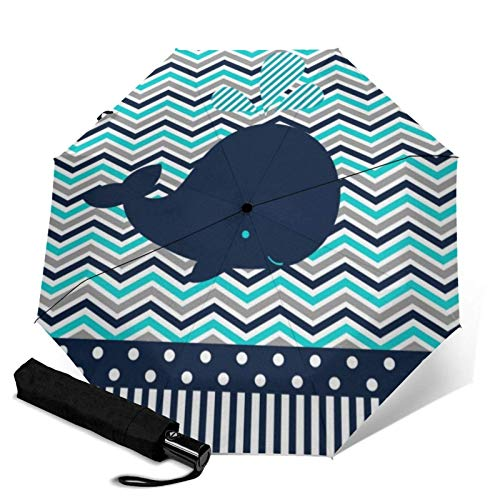ZEH Premium Windproof Umbrella,Beach Ocean Nautical Blue Whale Chevron Travel Folding Automatic tri-fold Umbrella Compact Umbrella Lightweight SunRain Umbrella FACAI