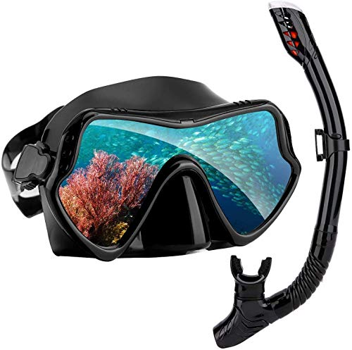 Censee Snorkel Set for Women and Men, Anti-Fog Tempered Glass Diving Mask for Swimming and Diving, Anti Leak Dry Top Snorkel Gear with Silicon Mouth Piece (Soft Silicone (Black2)