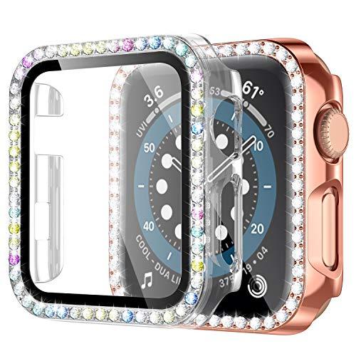 Upeak 2 Pacchi Compatibile con Apple Watch Series 3 38mm Vetro Temperato Custodia con Diamante, Copertura Completa per PC Compatibile con iWatch Series 3, Chiaro/Oro Rosa