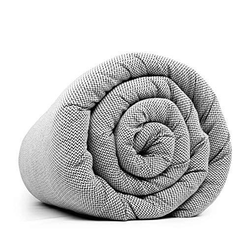 LEVIA Gewichtsdecke (7KG) für gesunden Schlaf   Therapiedecke inkl. kühlendem Bezug   Farbe: Schwarz/Weiß   Größe: 140 x 200cm   Material: Baumwolle   Made in Europe …