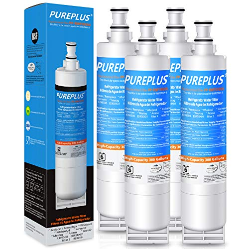 PUREPLUS 4396508 Water Filter Replacement for EDR5RXD1, EveryDrop Filter 5, 4396510, 4392857, Kenmore 46-9010, 9085, NLC240V, RFC0500A, WF285, W10186668, RWF0500A Kitchenaid Superba Refrigerator,4Pack