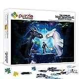 Cómo entrenar a tu dragón - Puzzles de 500 piezas para adultos, juego de rompecabezas de madera, rompecabezas de juguete intelectual, divertido juego familiar para niños y adultos de
