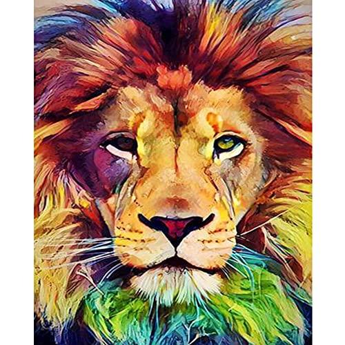 Pintar por Números Kits,Pintar por Numeros para Adultos Niños León colorido DIY Conjunto Completo de Pinturas para el Hogar Decoraciones-With_Framed_60x75cm E981
