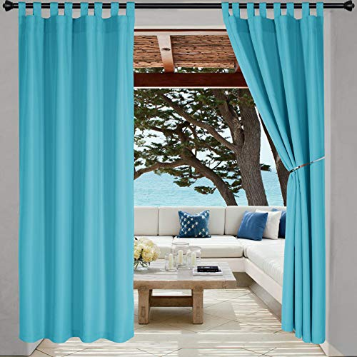 LORDTEX Indoor/Outdoor Curtains - Waterproof Tab Top Patio Curtains Sun Blocking Set of 2 Panels Thermal Insulated Curtain for Porch, Pergola, Cabana, Gazebo, 52 x 96 inch, Teal